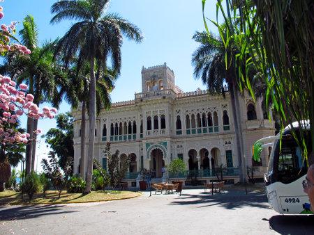 Cienfuegos  Cuba - 25 Feb 2011: The vintage building in Cienfuegos, Cuba