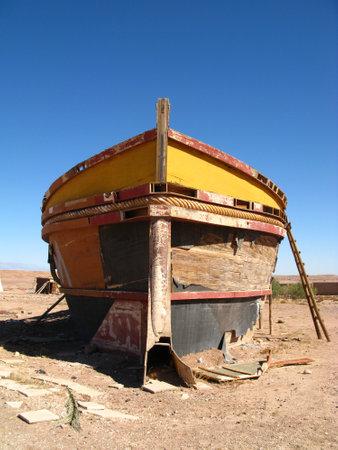 The boat in Atlas Film Studio in Sahara desert, Ouarzazate, Morocco Archivio Fotografico - 129425249