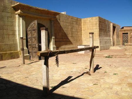 Ouarzazate / Morocco - 06 Nov 2010: Atlas Film Studio in Sahara desert, Ouarzazate, Morocco Archivio Fotografico - 129379872