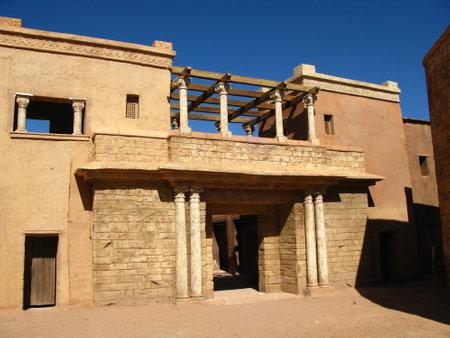 Ouarzazate / Morocco - 06 Nov 2010: Atlas Film Studio in Sahara desert, Ouarzazate, Morocco Archivio Fotografico - 129379837