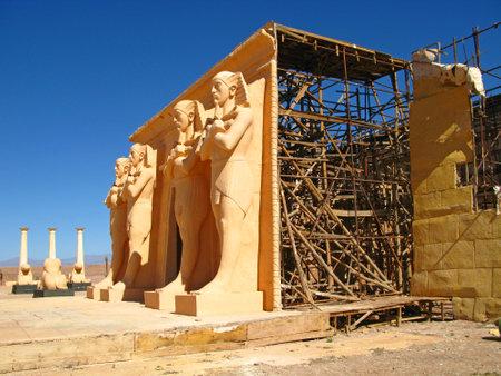 Ouarzazate / Morocco - 06 Nov 2010: Atlas Film Studio in Sahara desert, Ouarzazate, Morocco Archivio Fotografico - 129379813