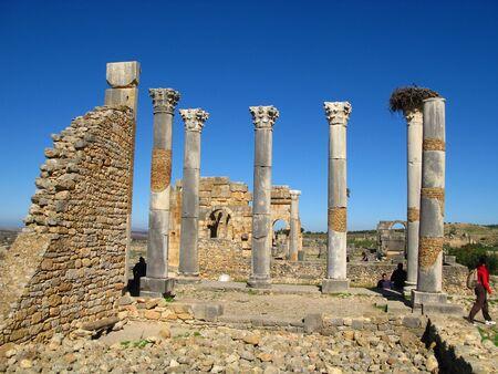 Roman ruins in Volubilis, Morocco Stock fotó