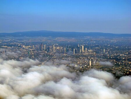 The view on Frankfurt from the airplane Stock Photo