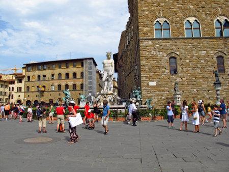Florence, Italy - 13 Jul 2011: Piazza della Signoria, Florence, Italy Editorial