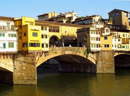 Florence / Italy - 11 Jul 2011: Florence Ponte Vecchio old bridge, Italy