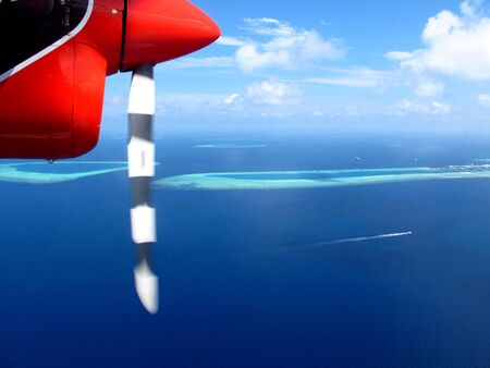 Atoll of Maldives, the view from the airplane