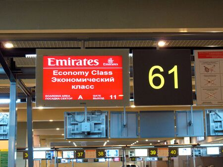 Moscow / Russia - 31 Dec 2010: Emirates airlines in Domodedovo Airport at the winter, Moscow, Russia