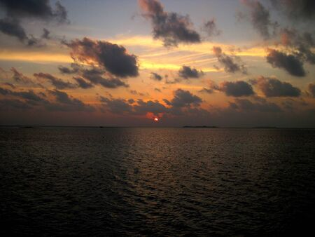 The sunset on Maldives, Indian ocean