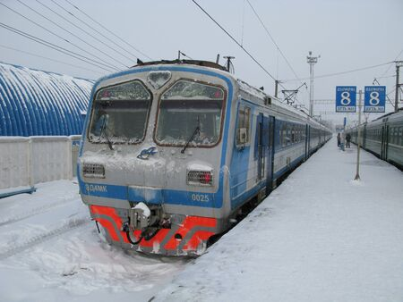 Kaluga  Russia - 30 Dec 2009: The train on the Railway station at the winter, Kaluga, Russia