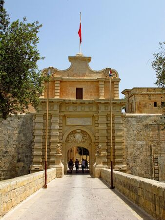 Mdina  Malta - 19 Jul 2011: The main gate to the old city of Mdina, Malta Editorial