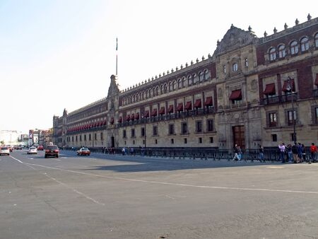 Mexico city  Mexico - 01 Mar 2011: The president palace on Zocalo ( Plaza de La Constitucion ), Mexico city, Mexico