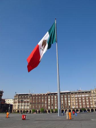 Mexico city  Mexico - 01 Mar 2011: The flag on Zocalo ( Plaza de La Constitucion ), Mexico city, Mexico Редакционное