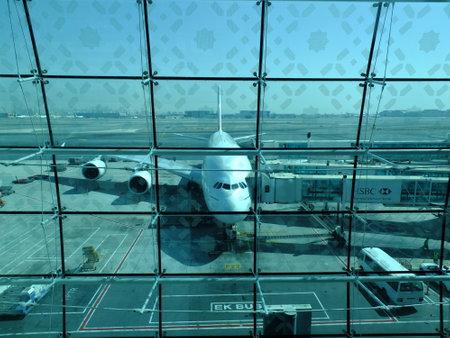 Dubai  UAE - 27 Apr 2012: The airplane in Dubai Airport, UAE
