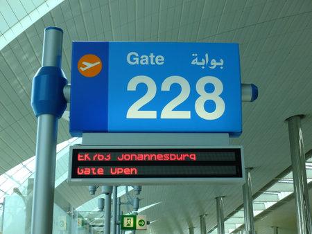 Dubai  UAE - 27 Apr 2012: The plate in Dubai Airport, UAE