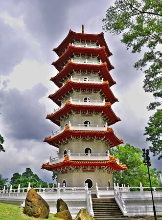 The pagoda in Chinese Gardens, Singapore 스톡 콘텐츠