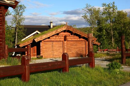 The traditional house in Geilo village, Norway Foto de archivo - 132105170