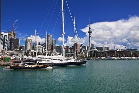 Auckland / New Zealand - 15 Dec 2018: The marina in Auckland city, New Zealand