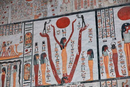 Luxor / Egypt - 28 Feb 2017. Frescos in the ancient necropolis Valley of the Kings in Luxor