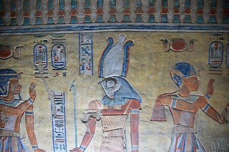 Luxor / Egypt - 28 Feb 2017. Frescos in the ancient necropolis Valley of the Queens in Luxor