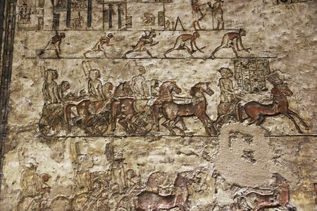 Amarna / Egypt - 03 Mar 2017: Tombs of the pharaohs in Amarna on the banks of the Nile, Egypt