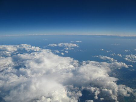 The view on Indian ocean from the airplane Stock Photo