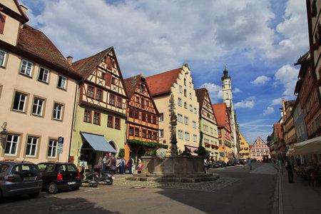 Rotenburg on Tauber, Bavaria  Germany - 12 Sep 2015: The vintage street in Rotenburg on Tauber in Germany