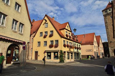Rotenburg on Tauber, Bavaria  Germany - 12 Sep 2015: The vintage house in Rotenburg on Tauber in Germany