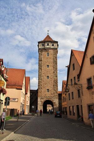 Rotenburg on Tauber, Bavaria  Germany - 12 Sep 2015: The vintage tower in Rotenburg on Tauber in Germany