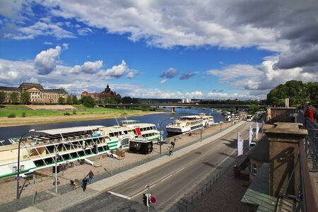 Dresden, Saxony / Germany - 07 Sep 2015: Bruhl's Terrace on Elbe river in Dresden, Saxony, Germany