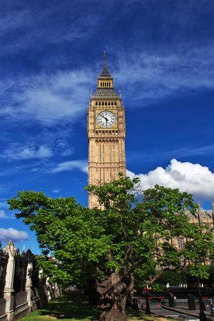 London / UK - 28 Jul 2013: Big Ben clock tower in London