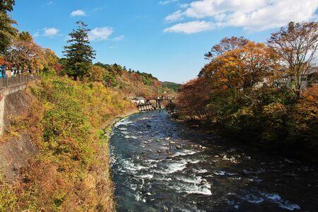 The river in Niiko at autumn, Japan Фото со стока