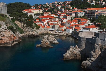 Dubrovnik / Croatia - 02 May 2018: The marina in Dubrovnik city on Adriatic sea, Croatia