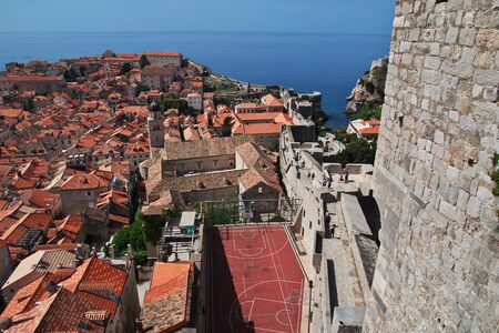 Dubrovnik / Croatia - 02 May 2018: Red roofs in Dubrovnik city on Adriatic sea, Croatia