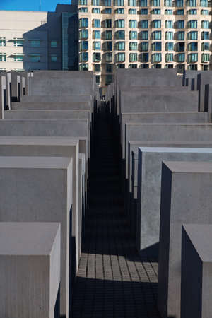 Berlin / Germany - 09 Sep 2015: The Holocaust Memorial - Memorial to the Murdered Jews of Europe. Berlin, Germany