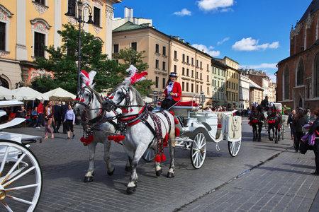 Krakow / Poland - 06 Sep 2015: The fiacre in Krakow, Poland Editorial