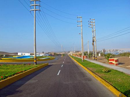 Paracas / Peru - 01 May 2011: The road to Paracas city on the Pacific ocean, Peru Sajtókép