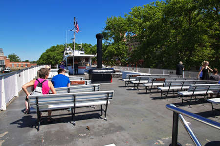 New York / United States - 02 Jul 2017: The ferry to Statue of liberty in New York, USA