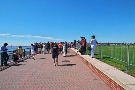 New York / United States - 02 Jul 2017: People close Statue of liberty in New York, USA Redactioneel
