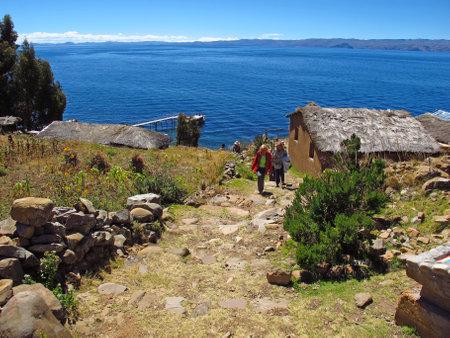 Isla de la luna, Titicaca / Bolivia - 07 May 2011: Inca ruins on Isla de la luna, Lake Titicaca in Andes, Bolivia