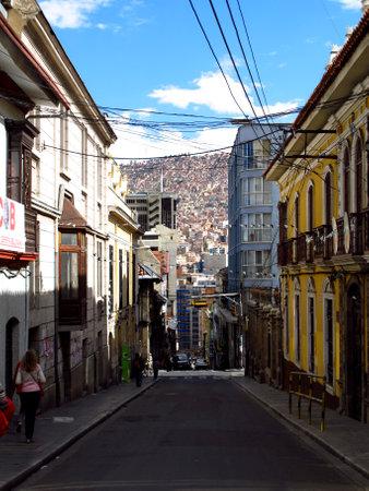 La Paz / Bolivia - 08 May 2011: The vinatge street, La Paz, Bolivia