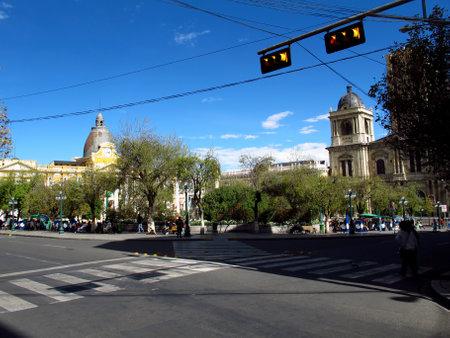 La Paz / Bolivia - 08 May 2011: Murillo Square in La Paz, Bolivia