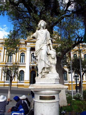 La Paz / Bolivia - 08 May 2011: The statue on Murillo Square in La Paz, Bolivia