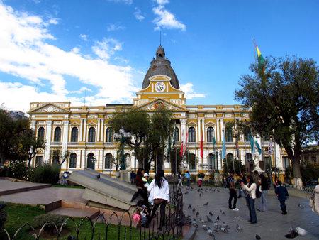 La Paz / Bolivia - 08 May 2011: Palacio Quemado on Murillo Square in La Paz, Bolivia