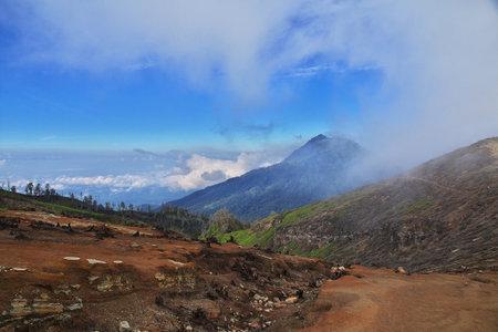 Ijen volcano / Indonesia - 04 Aug 2016: On the top of Ijen volcano, Indonesia