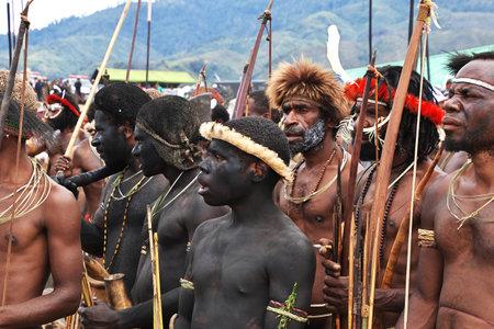 Wamena / Papua, Indonesia - 08 Aug 2016. National festival of local tribes in Wamena city, Papua Editoriali