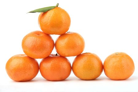 Ripe tangerines on a white background Stock Photo - 834178