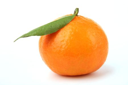 Ripe tangerines on a white background Stock Photo - 834171