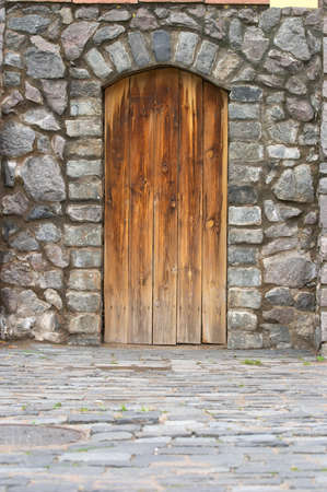 Wooden door in an old wall Stock Photo - 1456475