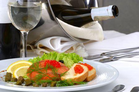 mesa para banquetes: Banquete mesa Seafoods  Foto de archivo