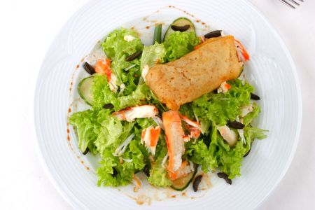 fritter: Dish from mutton, fritter, Seafoods, salad, greens,